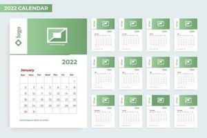 2022 calendar template with photo frame vector