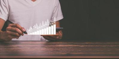 planificación y estrategia crecimiento empresarial stock de holograma virtual invertir en ilustración comercial foto