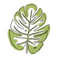 Continuous Line Monstera Leaf vector