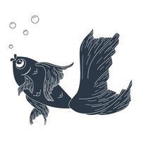 Line Art Gold Fish Silhouette Illustration vector