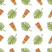 Hand Drawn Sunscreen Tubes and Monstera Leaves Seamless Pattern vector