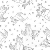 Engraving Goldfish Seamless Pattern vector