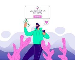 Money cash out concept illustration vector