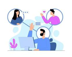 Remotely connect with people illustration concept vector