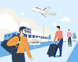 People maintaining safe distance at airport vector illustration concept