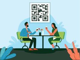 Couple restaurant meeting illustration vector