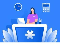 Medical receptionist illustration, Receptionist at medical center, hospital receptionist vector concept