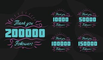Thank you followers label set vector