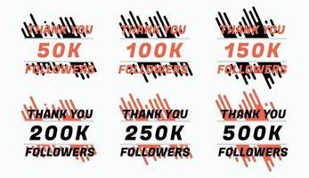 Thank you followers badges set vector