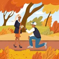 Latino boyfriend proposes to his girlfriend on one knee in an autumn park. Cartoon vector illustration