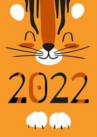 Cute cartoon tiger face and striped numbers 2022. Vector childrens illustration for a poster, postcard or calendar cover with a predator on an orange background