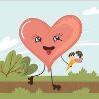 Cartoon character heart roller skating with ice cream in the park. Hand drawn vector illustration for kids