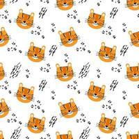 Seamless pattern with tiger, stripes and paw prints. Vector background for kids
