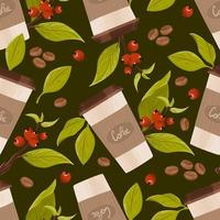 Seamless coffee pattern. Vector background with illustration of a paper latte cup, twigs with leaves and red berries and roasted coffee beans