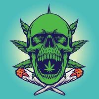 Cannabis Green Skull Smoke Illustrations vector