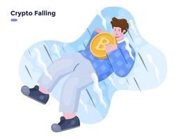 Bitcoin Falling Down flat vector illustration. Price collapse of the cryptocurrency. Crypto crash illustration concept. Person with bring Crypto coin and falling down.