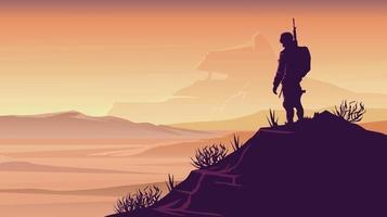 Wonder Solider Demolished World Landscape illustration vector