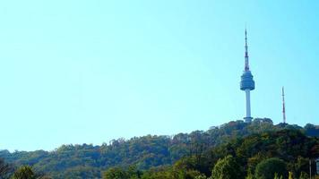 Timelapse of zooming out of the Seoul tower in South Korea video