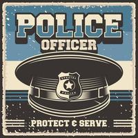 retro vintage illustration of police officer cap fit for wood poster or signage vector