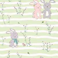 Seamless pattern with cute character of happy bunnies in violet garden vector