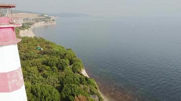 Flying along the rocky seashore Aerial shot video