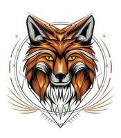 Fox with ornamental frame vector