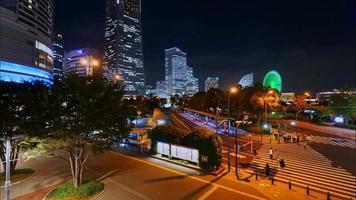Time-lapse of Yokohama city in Japan at night video