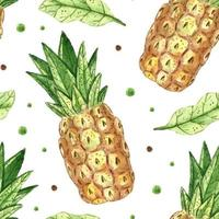 textura de patrones sin fisuras acuarela de piña. ilustración de verano tropical diseño de empaque papel de regalo fácil de cambiar fondo vector