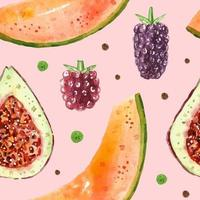 Figs melon berry raspberry watercolor seamless pattern texture. Tropical summer illustration packaging design wrapping paper easy to change background vector