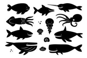 Sea creatures, animals, fishes. Black silhouette set. Cut board template design. vector