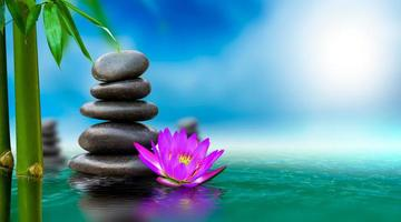 Spa massage, natural alternative treatment Hot stone massage photo