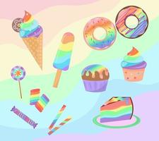 Rainbow desserts set isolated on colorful background. Sweets collection. Rainbow donuts, cupcake, ice cream and candies are decorated. Vector illustration.