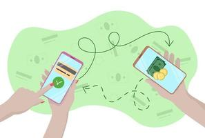 Mobile money transfers. Smartphones in hands of people. Arrows show  directions of money transfers. Flat design vector illustration
