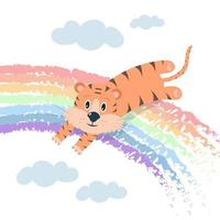 Cute tiger is jumping over a rainbow among clouds. Nursery vector concept illustration.