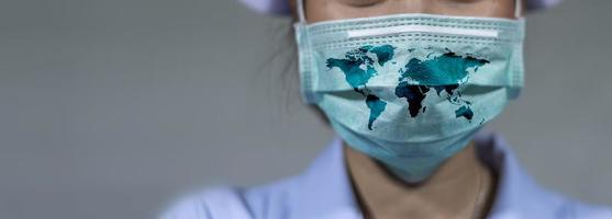 Virus Protection Covid 19 The world wears a mask to fight the corona virus. The concept of fighting viruses around the world photo