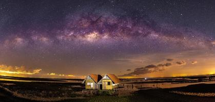 The Milky Way -Bridge over Thale Noi and Twin Houses, Phatthalung Province, Thailand- on a clear clear day photo