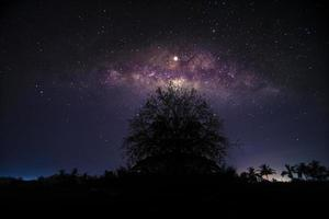 Night scenery with colorful and light yellow Milky Way Full of stars in the sky in summer Beautiful universe Background of space photo