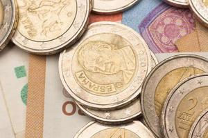 Euro coins, official currency of Europe photo