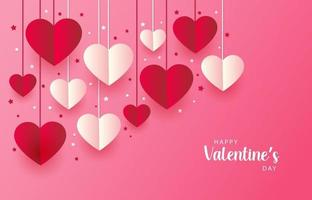 Beautiful pink Happy Valentine's Day Background with love hearts and lettering. Vector illustration