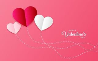 Happy Valentine's Day Hearts with pink Background. Vector illustration