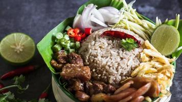 Rice Mixed with Shrimp paste - Thai traditional food photo