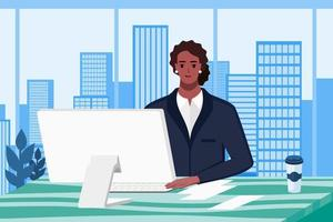 Professional African American Woman Working in Office vector