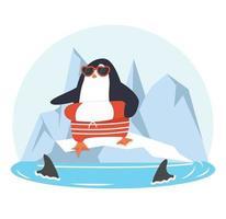 pingüino sobre un témpano de hielo con tiburones de aleta vector