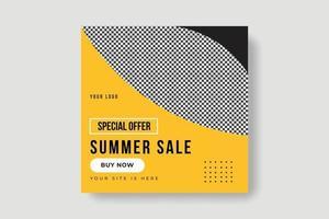 Summer sale social media post banner template vector