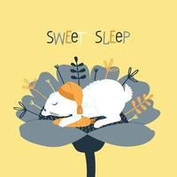 un lindo conejo duerme en un gorro de dormir dentro de una flor vector