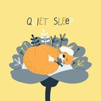 una linda ardilla duerme con una máscara para dormir dentro de una flor vector