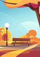 Bench in autumn park. Outdoor scene in vertical orientation. vector