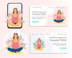 Illustration set. Young  pregnant woman doing yoga. Landing page,  illustration of the concept of a healthy lifestyle, physical exercises for pregnant women at home and outdoors, prenatal yoga classes. Flat-style illustration. vector