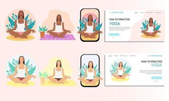 Illustration set. Young  woman doing yoga. Landing page,  illustration of the concept of a healthy lifestyle, physical exercises at home and outdoors, yoga classes. Flat-style illustration. vector