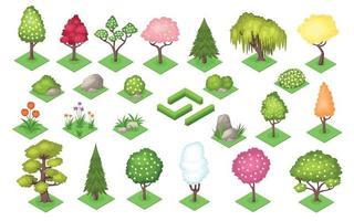 Cartoon Tree Bush Fence Stones Grass Summer Season Set vector